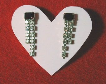 Vintage Clear Rhinestone Drop Earrings with Black Baguette