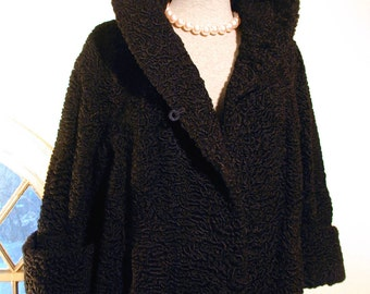 Vintage 40s Black Persian Lamb Coat Short Opera Length Stand Up Collar, Taylored Woman 5th Avenue NYC
