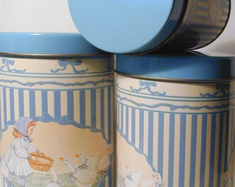 Vintage Blue and Almond Stripped Canister Set with Girl and Geese