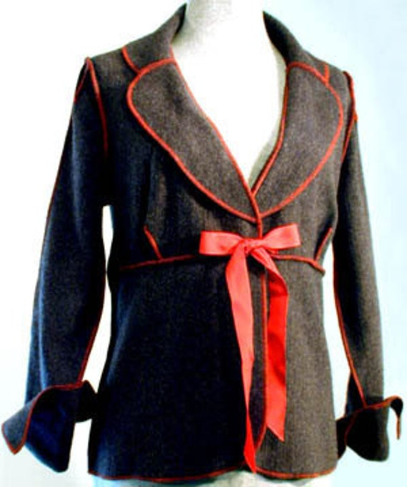 Charcoal Gray Felt Look Jacket, Red Overstitching