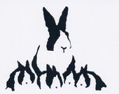 Rabbit Family hand pulled screenprint postcards (6 x 4) in black