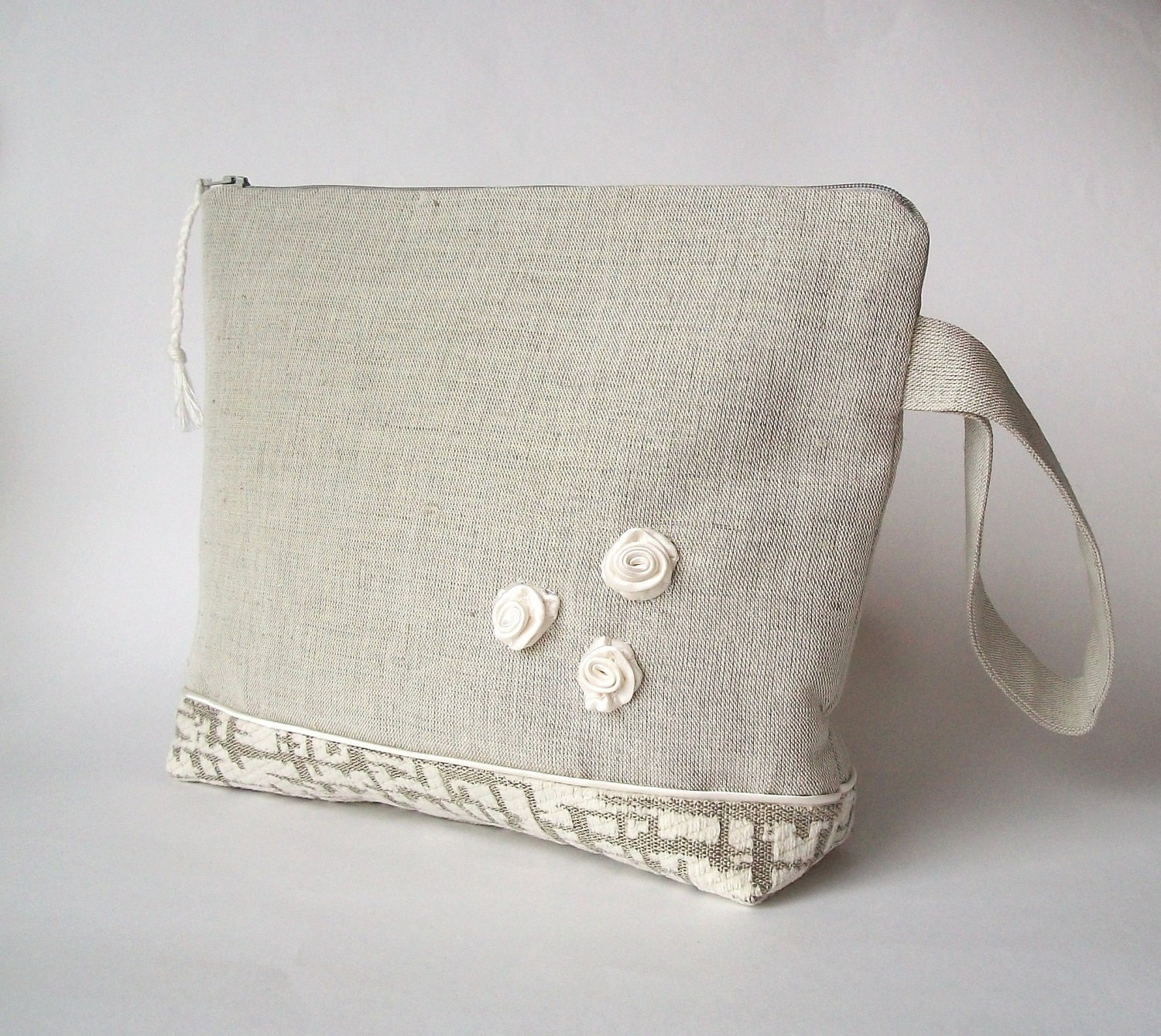 Knitting bag crochet bag yarn holder linen project by ProjectBag