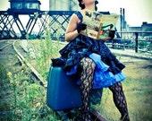 Two-Tier Party Dress - Emerald Revue SAMPLE - Black and Sapphire Blue Velvet Flocked Damask Taffeta SALE