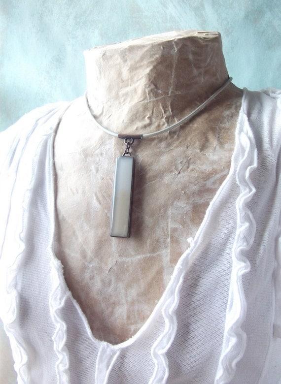 Cafe au Lait Resin & Copper Bar Pendant on Leather Choker