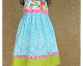 READY TO SHIP Aquamarine Damask and Michael Miller Bubble Blast with Trims in Hot Pink and White Gingham and Apple green Dots Reverse Knot Dress Size 18M-2T