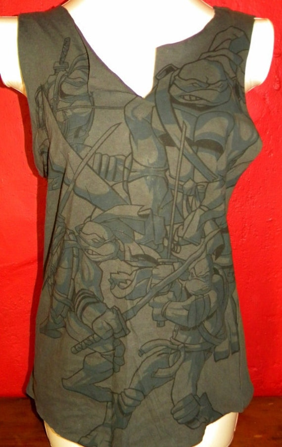 Reserved for Katie Destroyed  Teenage Mutant Ninja Turtles Upcycled  Shredded  Reconstructed Tee Tank Top