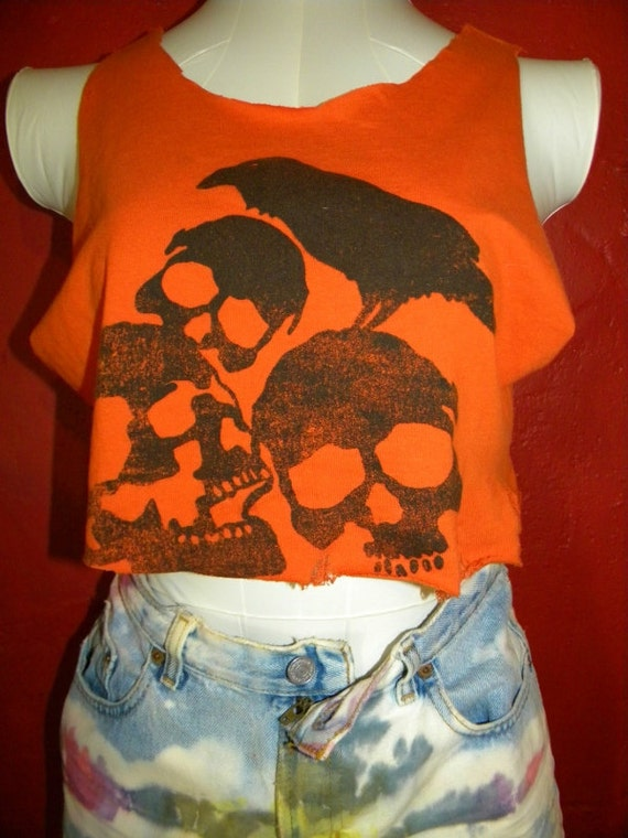 Crow and Skulls Destroyed  Upcycled  Shredded Reconstructed Tee Tank Top Crop Top