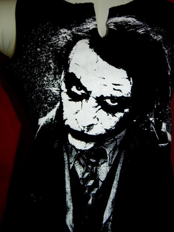 Upcycled Joker from Batman T Back Racer back T-Shirt Tank Top Fun Beach or Workout Tee