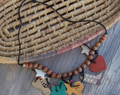 Vintage country western Texas style necklace, signed, hand made, hand painted, cactus, cowboy hat, cowboy boot, heart, stars, beads and rhinestone bling on Etsy