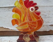 Vintage, lucite, rooster, napkin holder, 1960s, chicken, cock a doodle doo, red, orange, yellow, kitsch, retro, kitchen decor, country