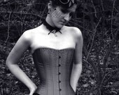 Steampunk Victorian Corset with crystals- overbust, Grey Silk, steel boned, custom made