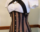 Sky Pirate Striped Steampunk Corset- limited edition- underbust corset, steel boned, custom made