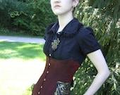 Cyborg Steampunk Corset- Waistcoat Style Underbust Corset- steel boned, custom made, hand painted, silk taffeta