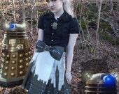 RESERVED for Meghan -Daleks in London -LAST ONE- pleated lolita skirt- custom printed fabric, custom made