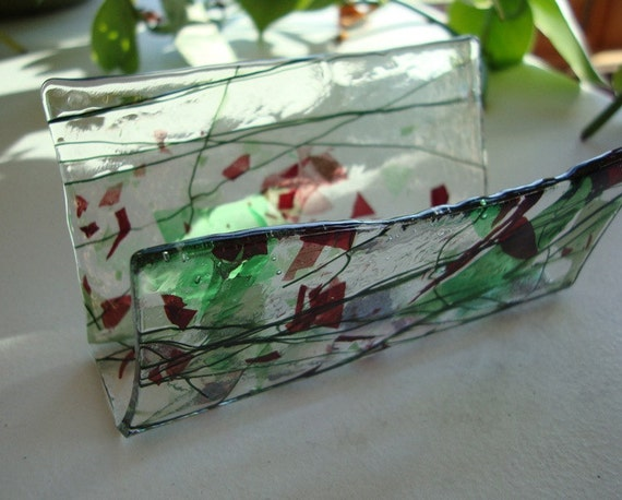 Fused Glass Business Card Holder - Reds