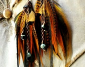 Amber Sunlight /// Earthy Feather, Chain, & Stone Earrings GORGEOUS GIFT