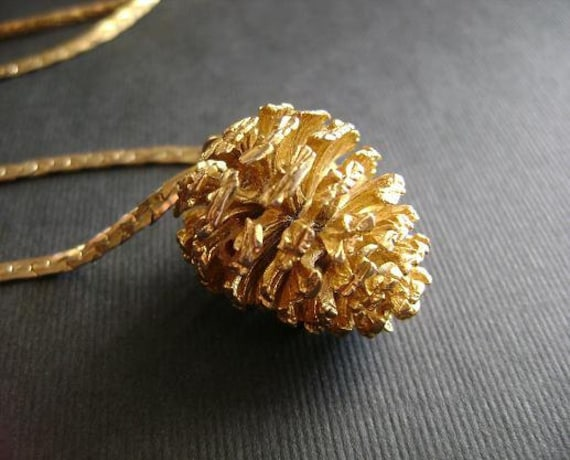 """vintage gold pine cone necklace retro cool long 29"""" chain"""