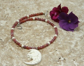 Dragon Moon Necklace~White Crescent~Red Agate