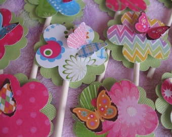 Birthday Party Decoration, Butterfly Cupcake Toppers (12 Toppers,) Happy Birthday Decor, Custom Party
