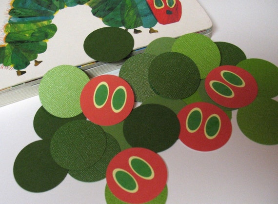 Happy Birthday Decorations, Green Caterpillar Jumbo Confetti, Custom Party Decor, First Birthday, boy birthday, girl birthday