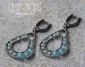 Earrings - Amazonite, Blue Quartz and Sterling Silver - Wire Wrapped