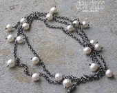 Long Freshwater Pearls and Sterling Silver Necklace/Bracelet