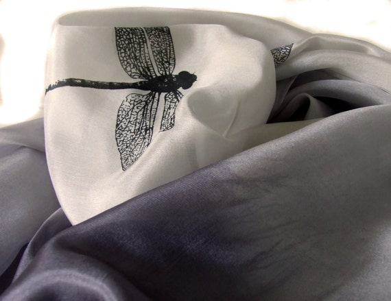 Silk Scarf in Grey and Cream Hand Printed with Dragonflies