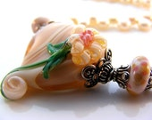 Peach Handmade Lampwork Glass Flower Heart Peach Freshwater Cultured Pearls Sterling Silver Necklace