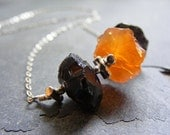 Smoky Brown Quartz Nuggets Orange Carnelian Nugget Sterling Silver Necklace - Achlys