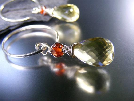 Lemon Topaz . Orange Red Garnet . Sterling Silver Wire Wrapped Dangle Earrings . Gemstones Earrings