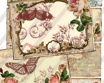 Digital Instant Download Paris Butterfly backgrounds -  aceo - altered art - atc - digital collage sheet - scrapbooking - crafts