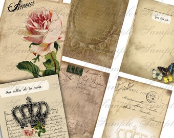 Digital Instant Download Vintage French Writing Shabby Backgrounds for ACEO ATC altered art digital collage sheet No 30