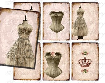 Digital Instant Download Vintage French Corsets Crowns NO 3031 Shabby Backgrounds for ACEO ATC altered art digital collage sheets