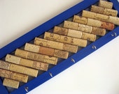 Bright Blue Wine Cork Board With Key Hooks - Kitchen, Office, Organizer, Eco Friendly