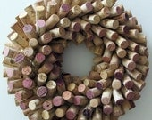 "Unique Wine Cork Wreath - 16"" Diameter - Wedding Housewarming Christmas Gift, Cottage Chic Wine Lover Home Decor, Eco Friendly"