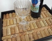 Black Wine Cork Serving Tray - Housewarming, Wedding, Christmas Gift, Home Decor