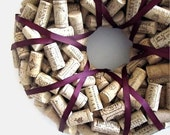 Wine Cork Wreath with Plum Ribbon - Mother's Day Father's Day Wedding Christmas Birthday Wine Lover Year Round Eco Friendly Home Decor
