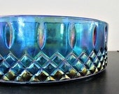 "Vintage Indiana Blue Carnival Glass Dish in ""Princess"" Pattern"