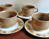 Melmac Cups And Saucers Set - Lenox Mocha Brown Floral Coffee Tea Entertaining -Set of Four