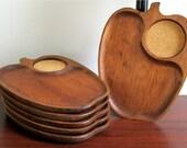 Wood Snack Trays-Apple Shaped-Set of 6