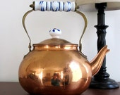 Copper Tea Kettle with Blue and White Ceramic Accents