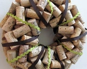 Wine Cork Wreath Wrapped with Chocolate Brown and Green Ribbon