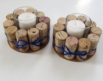 Wine Cork Votive Holders with Blue Ribbon-Set of Two - Holiday Decor, Hostess Gift, Home Decor