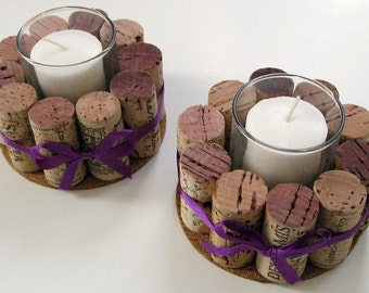 Wine Cork Votive Holders with Purple Ribbon-Set of Two- Wedding, Holidays, Hostess Gift, Romantic Dinner, Home Decor