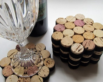 Honeycomb Wine Cork Coasters With Black Ribbon-Set of Four - Wedding Hostess Housewarming Gift - Eco Friendly Home Decor