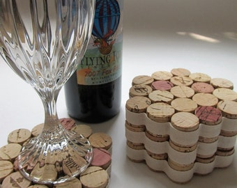 Cork Coasters With Cream Ribbon - Set of Four - Repurposed Wine Corks - Housewarming, Wedding, Hostess Gift - Holiday Entertaining