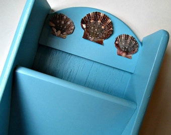 Upcycled Mail Organizer in Aqua Blue with Sea Shell Accents - Nautical, Beach, Mail Letter Bill Holder, Rustic, Cottage Chic Home Decor