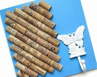 Wine Cork Board in Blue with White Butterfly Hook - Shabby Cottage Chic, Rustic Organizer
