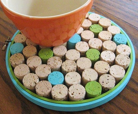 SALE Blue and Green Round Wine Cork Board/Trivet