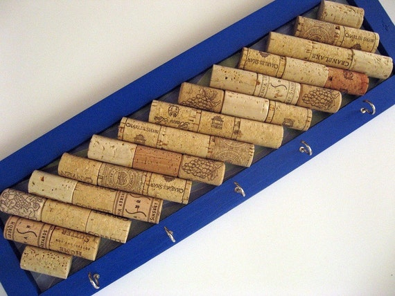 Bright blue wine cork board with key hooks kitchen office for Cork board with hooks